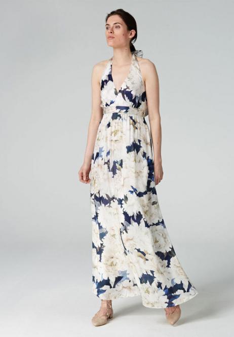 Seidenkleid mit Flower-Print, Farbe multicolor