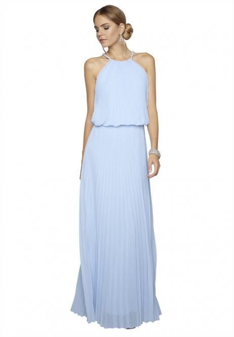 Plisseekleid, Farbe bleu